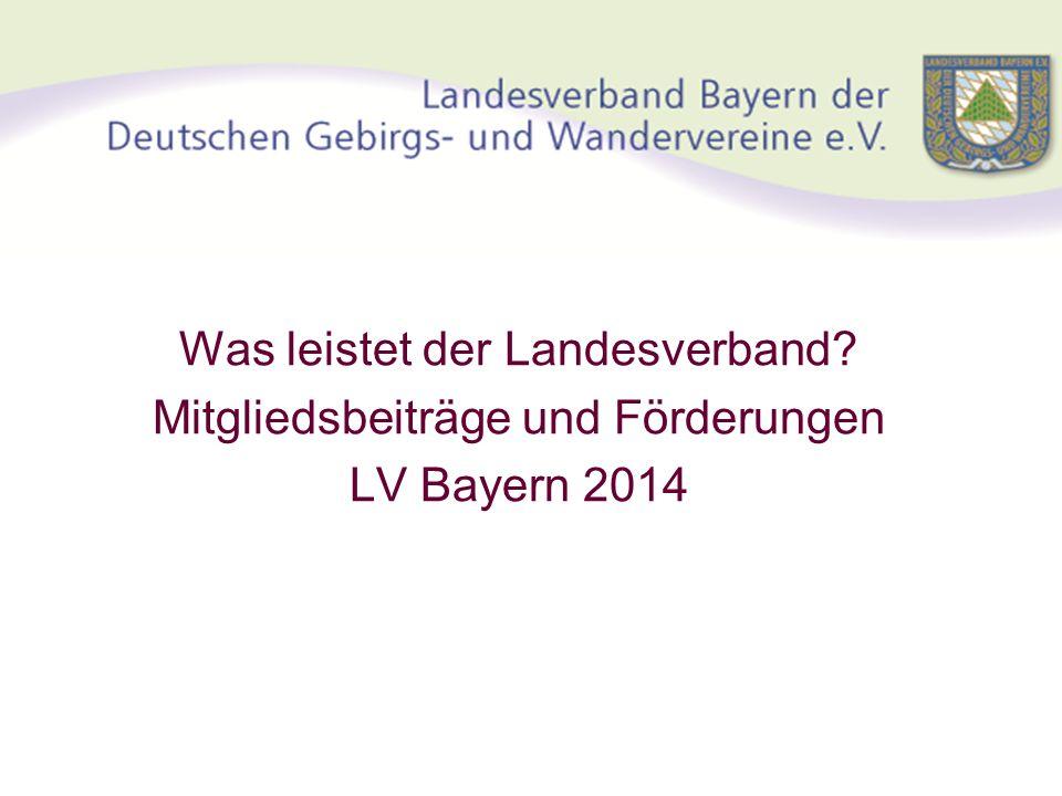 Was leistet der Landesverband? Mitgliedsbeiträge und Förderungen LV Bayern 2014