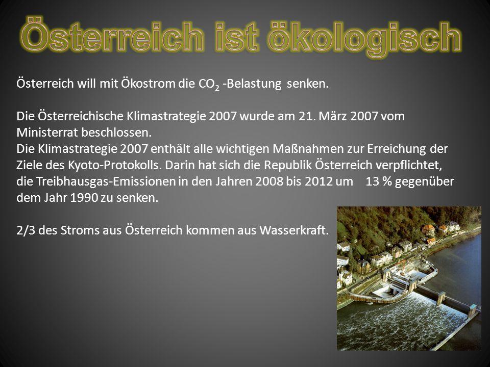 Österreich will mit Ökostrom die CO 2 -Belastung senken.