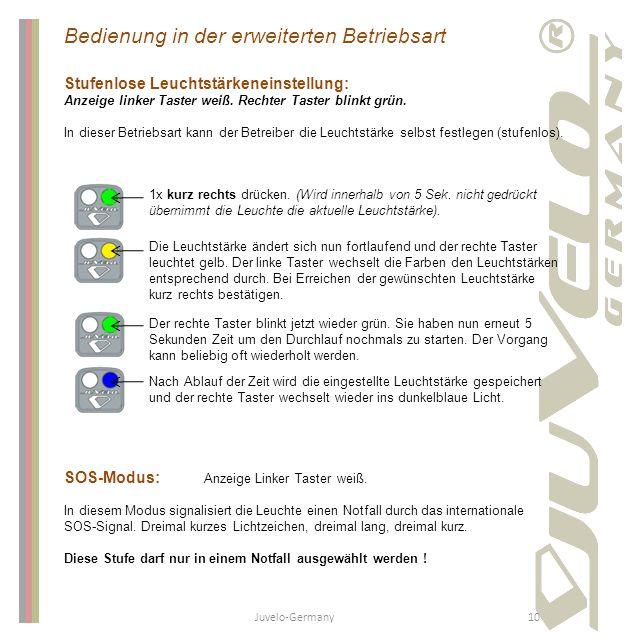 Juvelo-Germany10 Bedienung in der erweiterten Betriebsart Stufenlose Leuchtstärkeneinstellung: Anzeige linker Taster weiß. Rechter Taster blinkt grün.