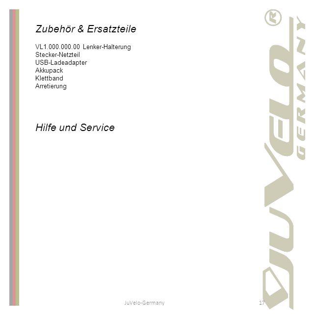 JuVelo-Germany17 Zubehör & Ersatzteile VL1.000.000.00 Lenker-Halterung Stecker-Netzteil USB-Ladeadapter Akkupack Klettband Arretierung Hilfe und Servi