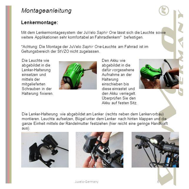 Juvelo-Germany6 Montageanleitung Lenkermontage: Mit dem Lenkermontagesystem der JuVelo Saphir One lässt sich die Leuchte sowie weitere Applikationen s
