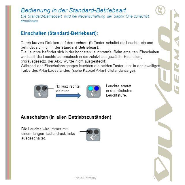 Juvelo-Germany7 Bedienung in der Standard-Betriebsart Die Standard-Betriebsart wird bei Neuanschaffung der Saphir One zunächst empfohlen. Einschalten