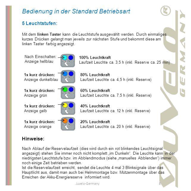 Juvelo-Germany8 Bedienung in der Standard Betriebsart 5 Leuchtstufen: Mit dem linken Taster kann die Leuchtstufe ausgewählt werden. Durch einmaliges k