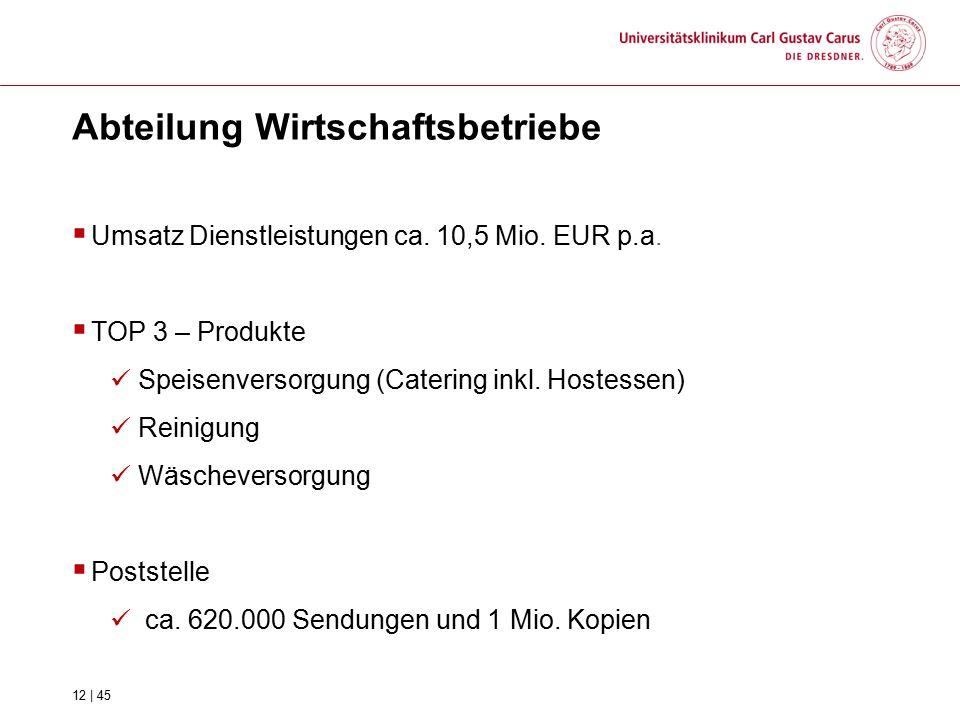 Abteilung Wirtschaftsbetriebe  Umsatz Dienstleistungen ca. 10,5 Mio. EUR p.a.  TOP 3 – Produkte Speisenversorgung (Catering inkl. Hostessen) Reinigu