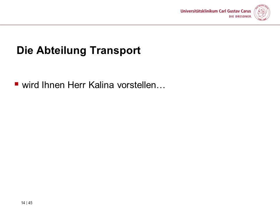  wird Ihnen Herr Kalina vorstellen… Die Abteilung Transport 14 | 45
