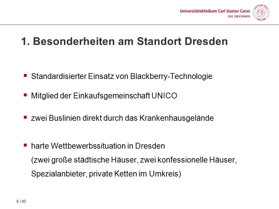 1. Besonderheiten am Standort Dresden  Standardisierter Einsatz von Blackberry-Technologie  Mitglied der Einkaufsgemeinschaft UNICO  zwei Buslinien