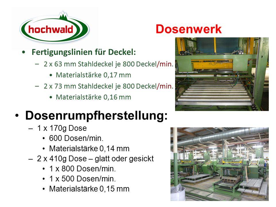 Dosenwerk Dosenrumpfherstellung: –1 x 170g Dose 600 Dosen/min.