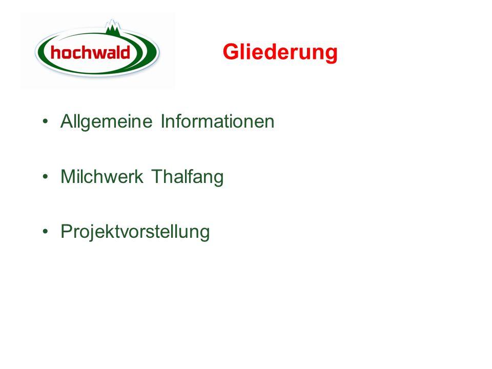 Gliederung Allgemeine Informationen Milchwerk Thalfang Projektvorstellung