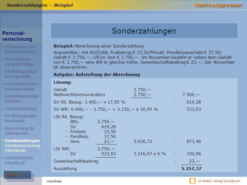 © MANZ Verlag Schulbuch Rechnungswesen Folie 12 Visiothek Sonderzahlungen ― Beispiel Sonderzahlungen Beispiel: Abrechnung einer Sonderzahlung Angestel
