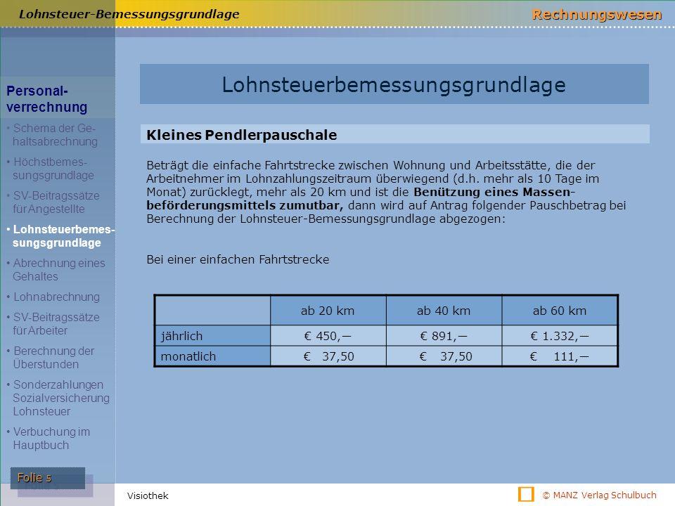 © MANZ Verlag Schulbuch Rechnungswesen Folie 5 Visiothek Lohnsteuer-Bemessungsgrundlage ab 20 kmab 40 kmab 60 km jährlich€ 450,―€ 891,―€ 1.332,― monat