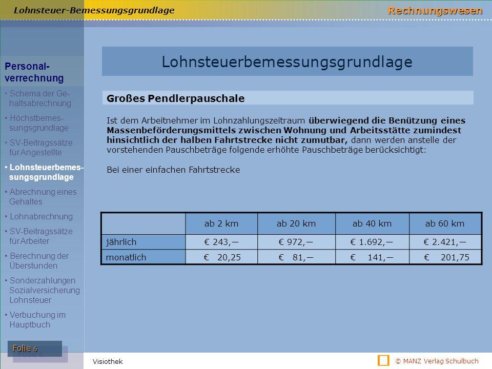 © MANZ Verlag Schulbuch Rechnungswesen Folie 6 Visiothek Lohnsteuer-Bemessungsgrundlage ab 2 kmab 20 kmab 40 kmab 60 km jährlich€ 243,―€ 972,―€ 1.692,