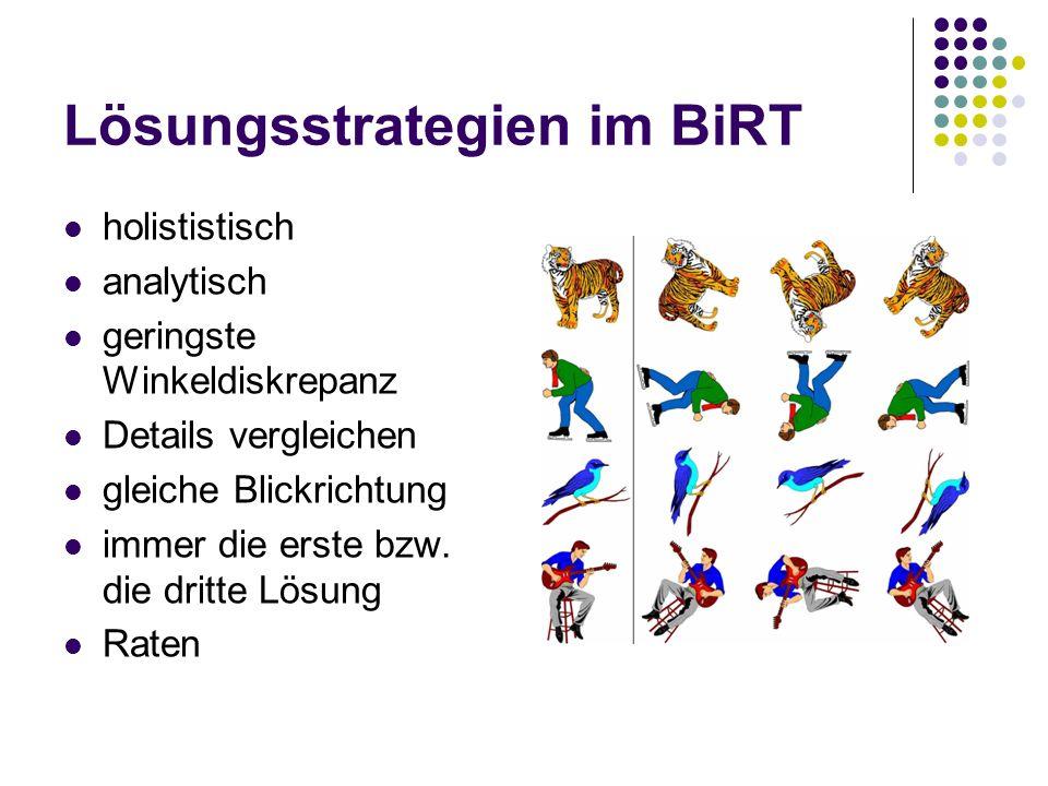 Lösungsstrategien im BiRT holististisch analytisch geringste Winkeldiskrepanz Details vergleichen gleiche Blickrichtung immer die erste bzw. die dritt