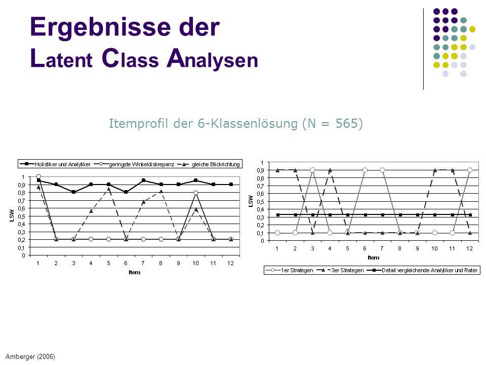 Ergebnisse der L atent C lass A nalysen Itemprofil der 6-Klassenlösung (N = 565) Amberger (2006)