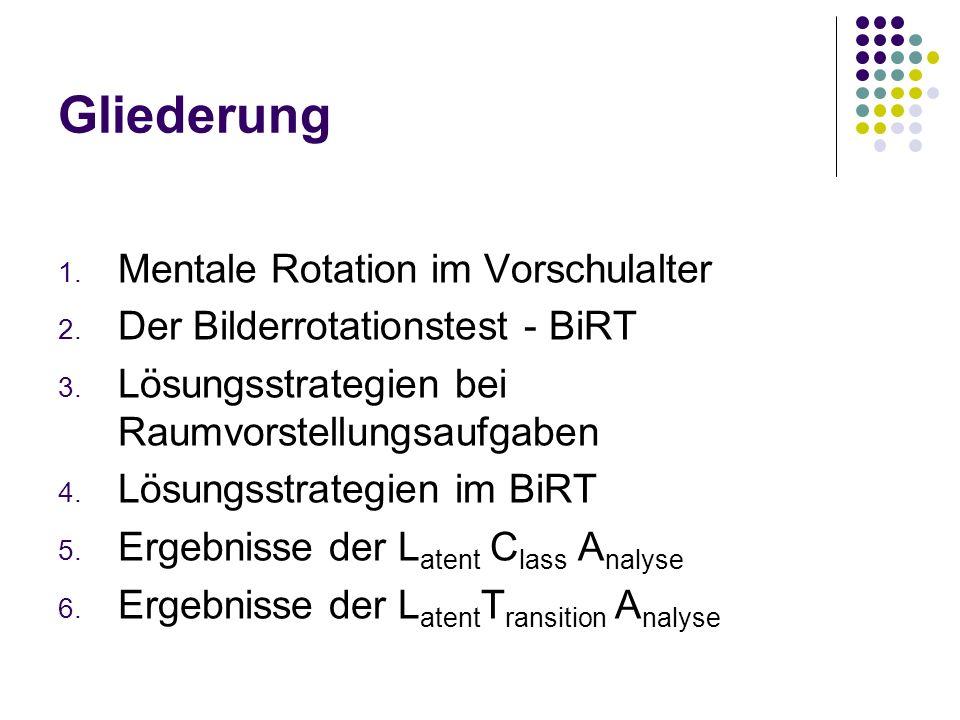 Gliederung 1. Mentale Rotation im Vorschulalter 2. Der Bilderrotationstest - BiRT 3. Lösungsstrategien bei Raumvorstellungsaufgaben 4. Lösungsstrategi