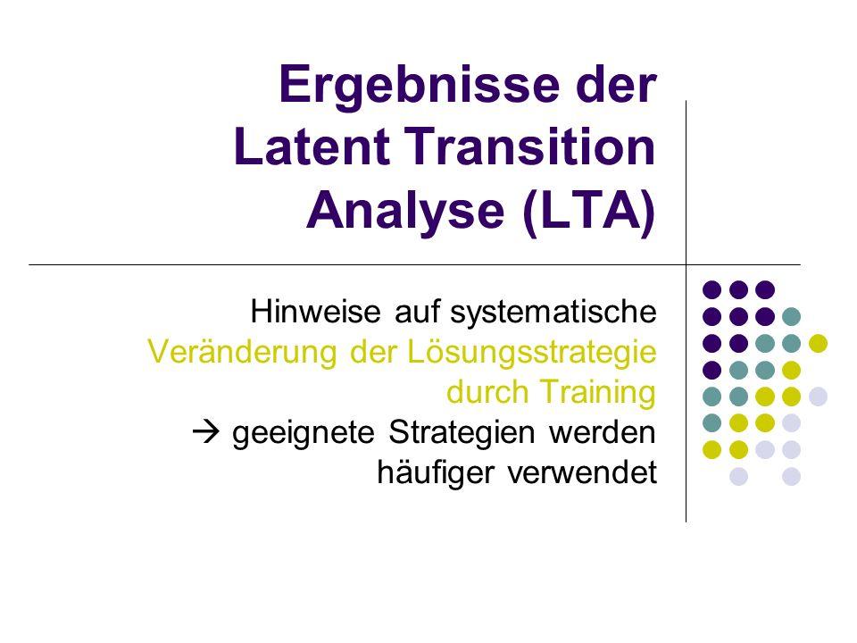 Ergebnisse der Latent Transition Analyse (LTA) Hinweise auf systematische Veränderung der Lösungsstrategie durch Training  geeignete Strategien werden häufiger verwendet