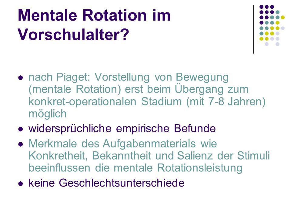 Mentale Rotation im Vorschulalter? nach Piaget: Vorstellung von Bewegung (mentale Rotation) erst beim Übergang zum konkret-operationalen Stadium (mit