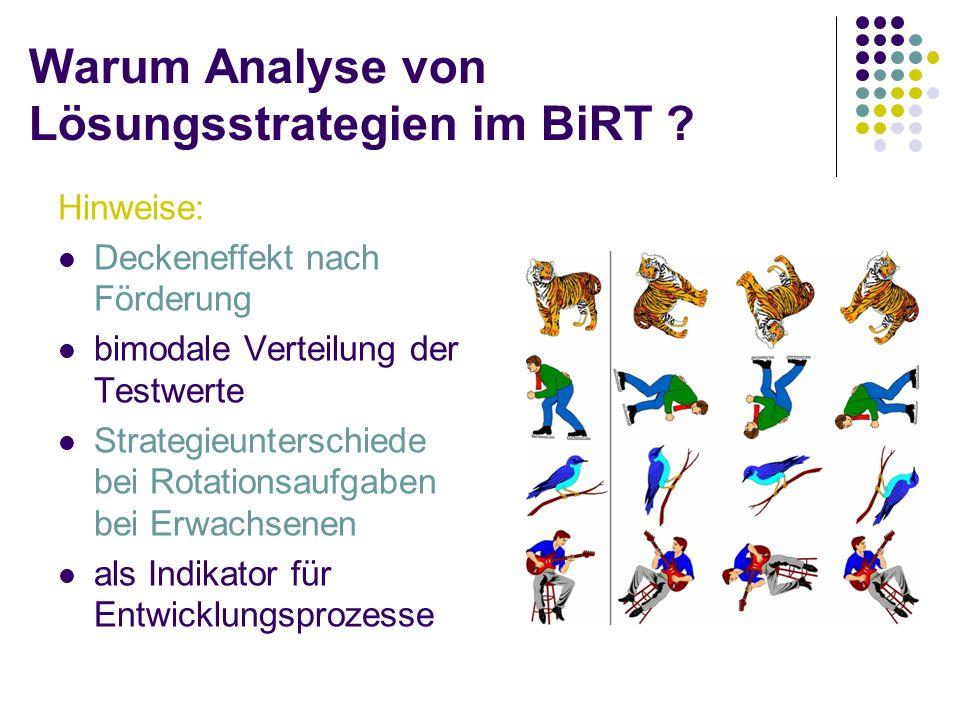 Warum Analyse von Lösungsstrategien im BiRT ? Hinweise: Deckeneffekt nach Förderung bimodale Verteilung der Testwerte Strategieunterschiede bei Rotati