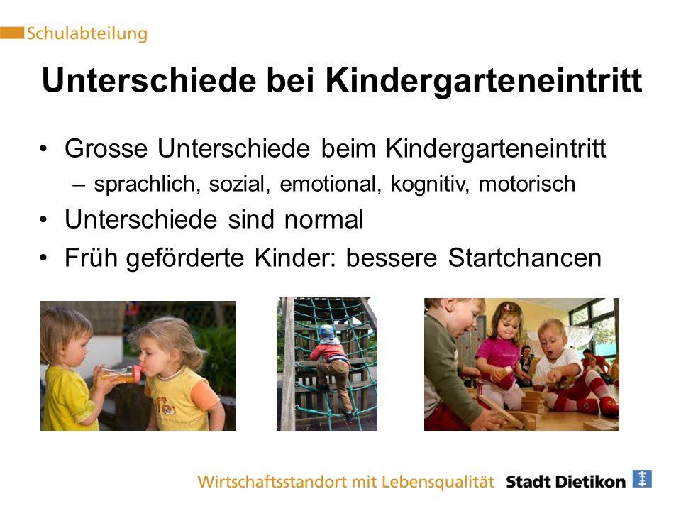 Unterschiede bei Kindergarteneintritt Grosse Unterschiede beim Kindergarteneintritt –sprachlich, sozial, emotional, kognitiv, motorisch Unterschiede sind normal Früh geförderte Kinder: bessere Startchancen
