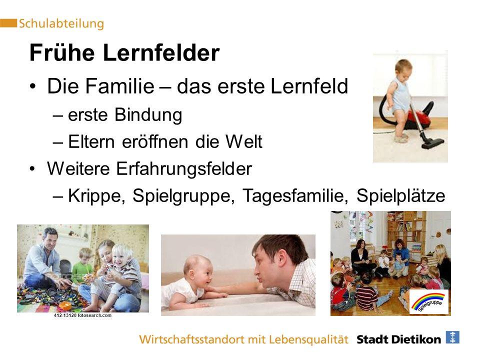 Frühe Lernfelder Die Familie – das erste Lernfeld –erste Bindung –Eltern eröffnen die Welt Weitere Erfahrungsfelder –Krippe, Spielgruppe, Tagesfamilie, Spielplätze