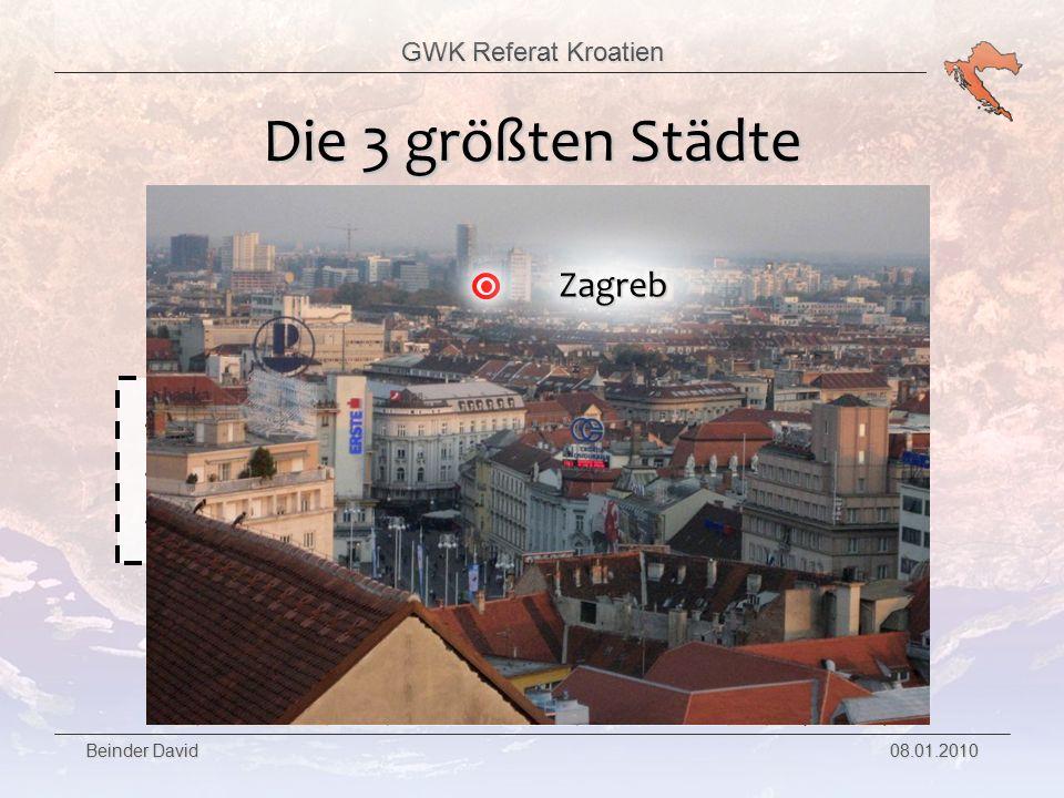 GWK Referat Kroatien Beinder David 08.01.2010 Die 3 größten Städte Zweitgrößte Stadt Kroatiens 221.000 Einwohner Die Stadt ist bekannt als UNESCO Weltkulturerbe Split