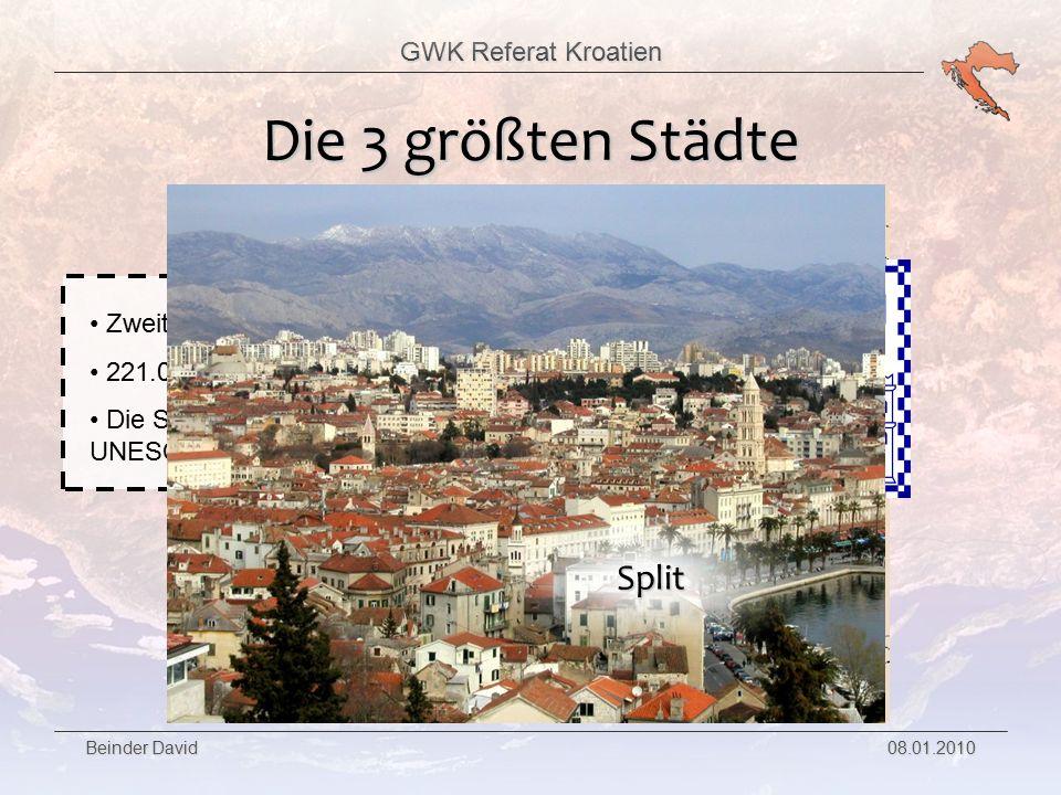 GWK Referat Kroatien Beinder David 08.01.2010 Die 3 größten Städte Drittgrößte Stadt Kroatiens 139.000 Einwohner Fläche: 44km² Rijeka