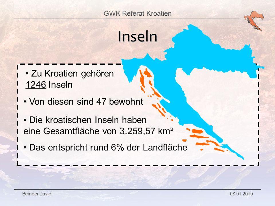 GWK Referat Kroatien Beinder David 08.01.2010 Die 2 größten Inseln liegen beide in der Kvarner-Bucht haben fast die selbe Fläche
