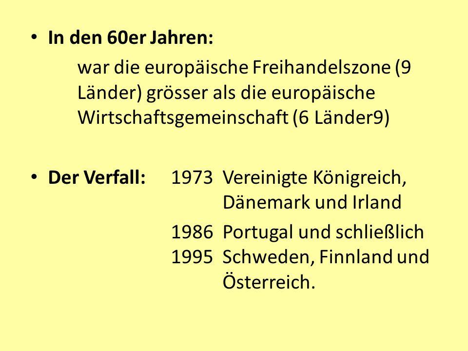 In den 60er Jahren: war die europäische Freihandelszone (9 Länder) grösser als die europäische Wirtschaftsgemeinschaft (6 Länder9) Der Verfall: 1973 Vereinigte Königreich, Dänemark und Irland 1986 Portugal und schließlich 1995 Schweden, Finnland und Österreich.