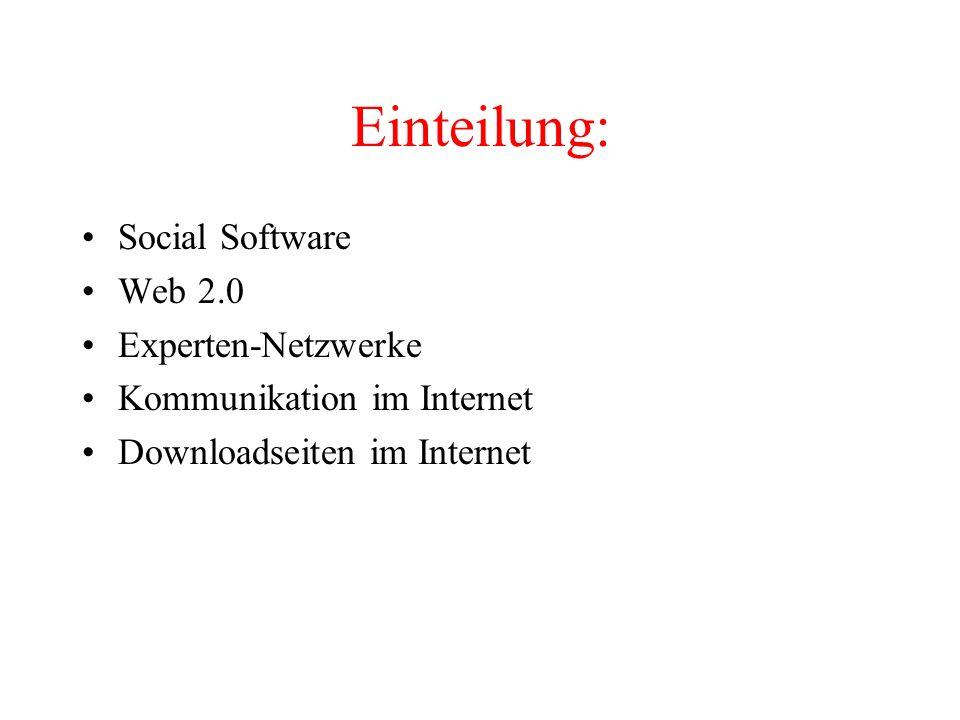 Einteilung: Social Software Web 2.0 Experten-Netzwerke Kommunikation im Internet Downloadseiten im Internet