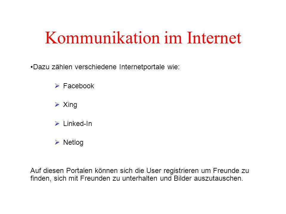 Kommunikation im Internet Dazu zählen verschiedene Internetportale wie:  Facebook  Xing  Linked-In  Netlog Auf diesen Portalen können sich die User registrieren um Freunde zu finden, sich mit Freunden zu unterhalten und Bilder auszutauschen.