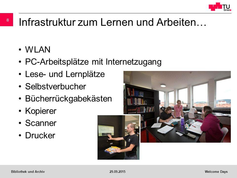 Bibliothek und Archiv29.09.2015Welcome Days Infrastruktur zum Lernen und Arbeiten… WLAN PC-Arbeitsplätze mit Internetzugang Lese- und Lernplätze Selbstverbucher Bücherrückgabekästen Kopierer Scanner Drucker 8
