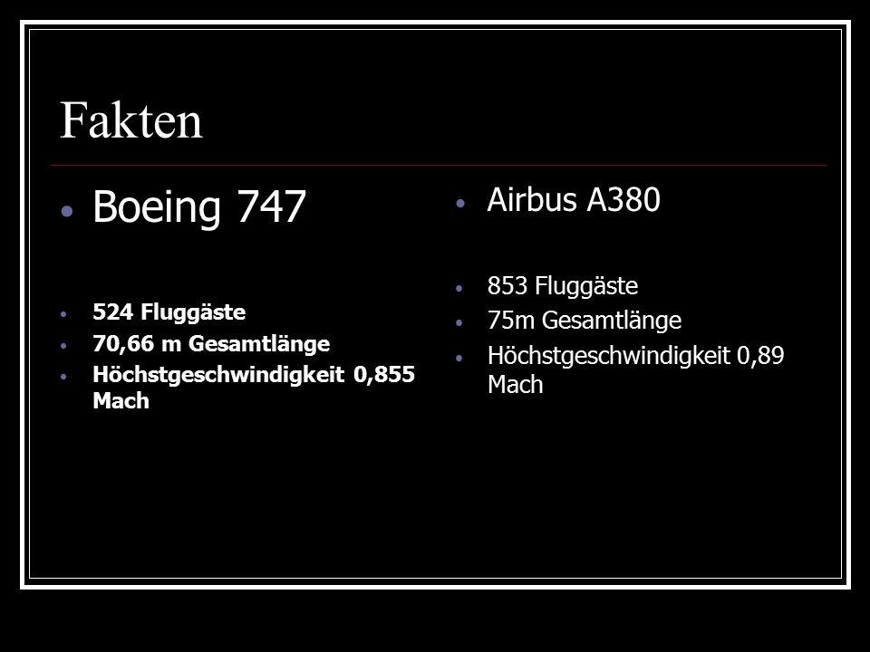 Fakten Boeing 747 524 Fluggäste 70,66 m Gesamtlänge Höchstgeschwindigkeit 0,855 Mach Airbus A380 853 Fluggäste 75m Gesamtlänge Höchstgeschwindigkeit 0