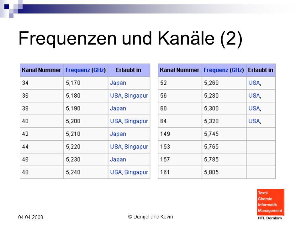 © Danijel und Kevin 04.04.2008 Frequenzen und Kanäle (2)
