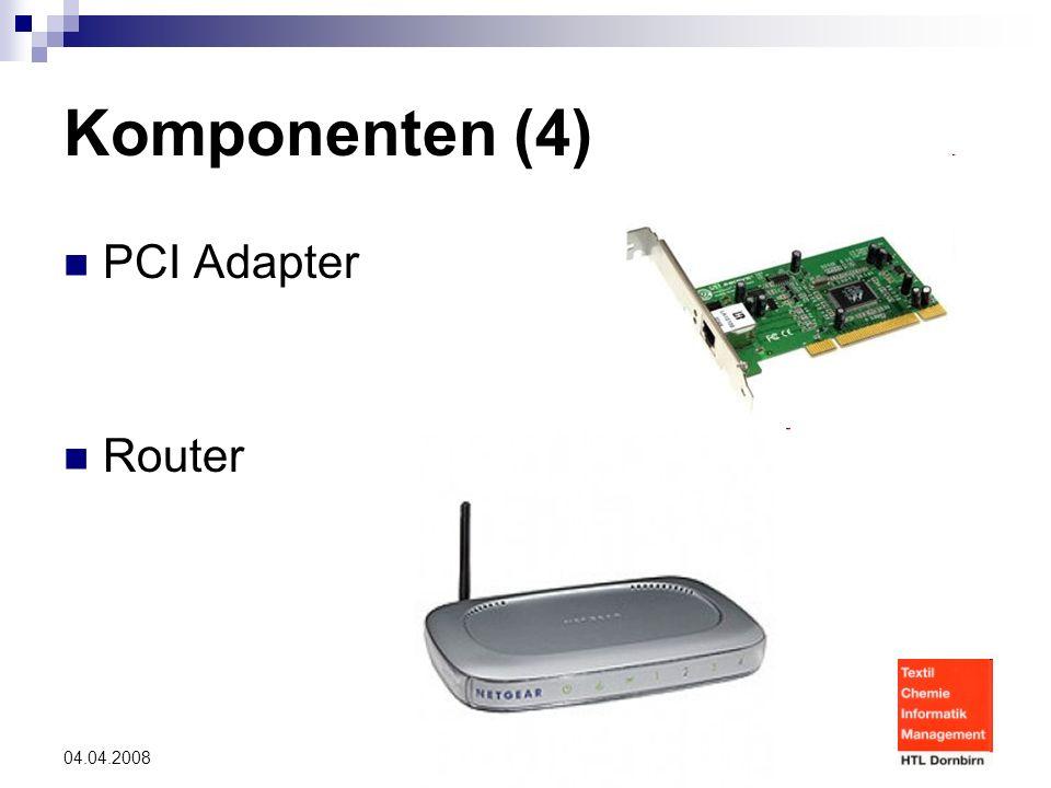 © Danijel und Kevin 04.04.2008 Komponenten (4) PCI Adapter Router