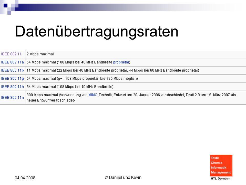 © Danijel und Kevin 04.04.2008 Datenübertragungsraten