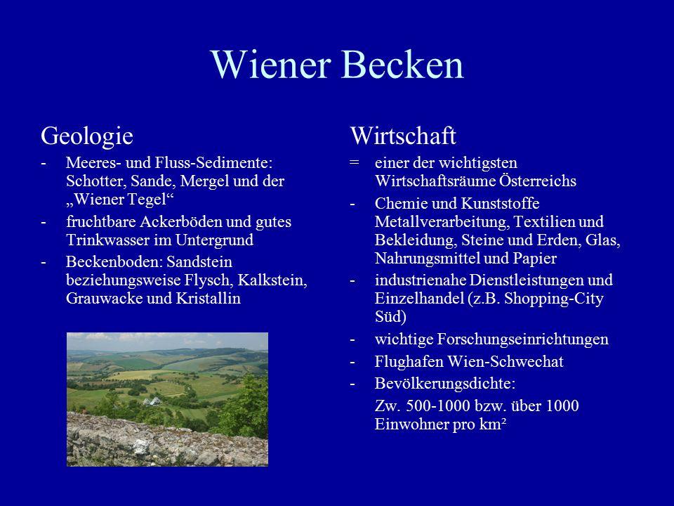 """Wiener Becken Geologie -Meeres- und Fluss-Sedimente: Schotter, Sande, Mergel und der """"Wiener Tegel"""" -fruchtbare Ackerböden und gutes Trinkwasser im Un"""