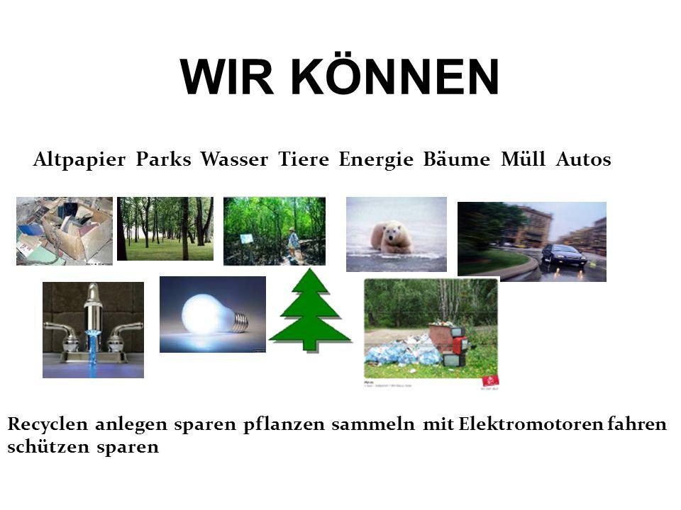 WIR KÖNNEN Altpapier Parks Wasser Tiere Energie Bäume Müll Autos Recyclen anlegen sparen pflanzen sammeln mit Elektromotoren fahren schützen sparen