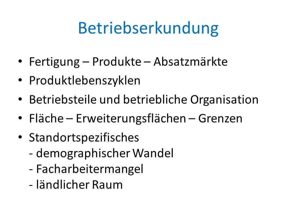 Betriebserkundung Fertigung – Produkte – Absatzmärkte Produktlebenszyklen Betriebsteile und betriebliche Organisation Fläche – Erweiterungsflächen – G