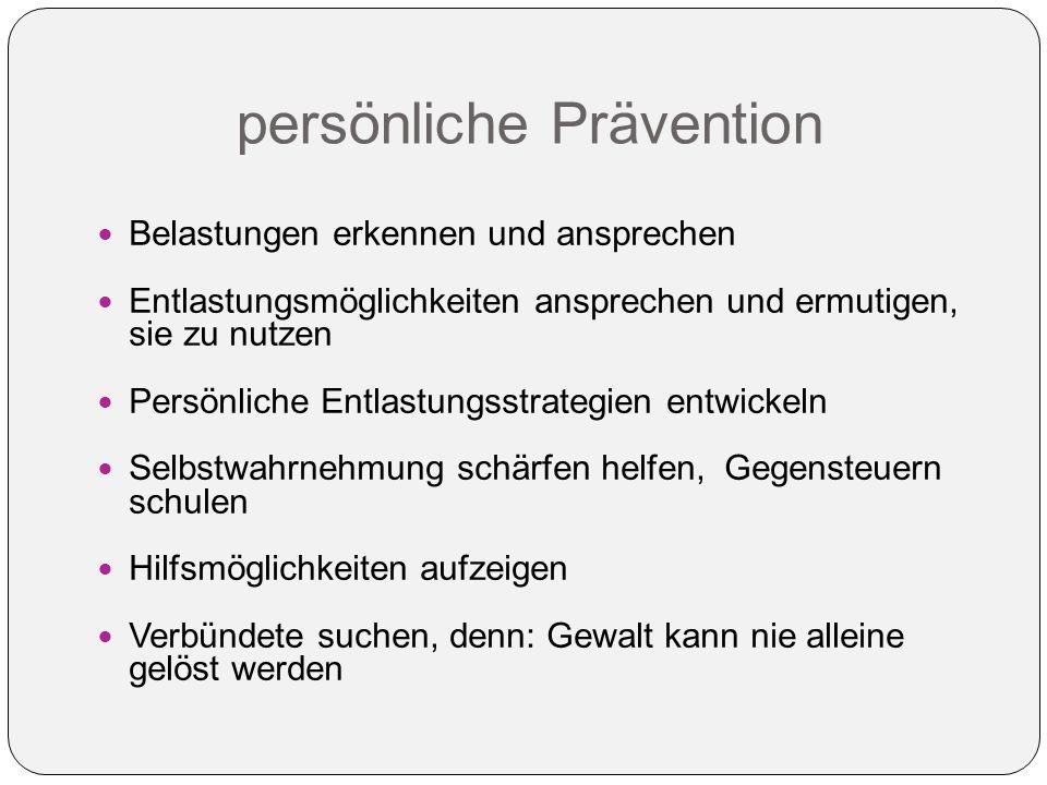 persönliche Prävention Belastungen erkennen und ansprechen Entlastungsmöglichkeiten ansprechen und ermutigen, sie zu nutzen Persönliche Entlastungsstr