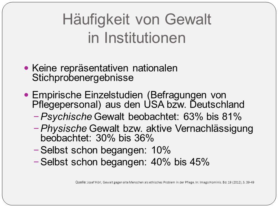 Häufigkeit von Gewalt in Institutionen Keine repräsentativen nationalen Stichprobenergebnisse Empirische Einzelstudien (Befragungen von Pflegepersonal