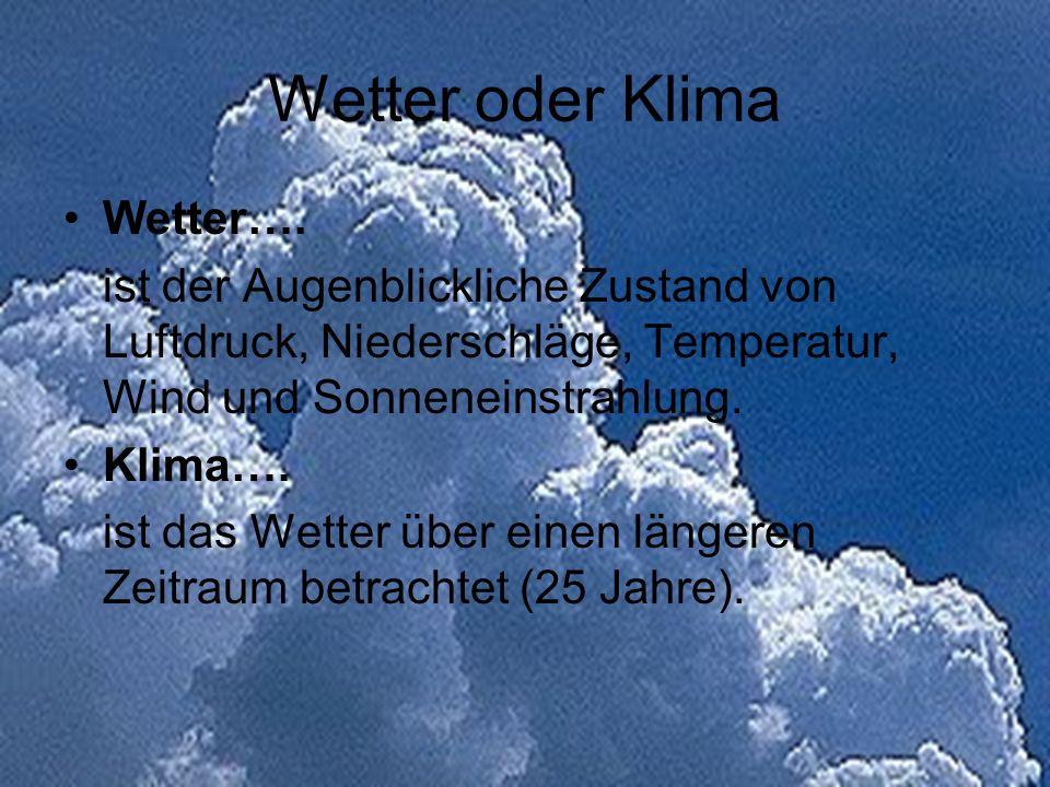 Wetter oder Klima Wetter…. ist der Augenblickliche Zustand von Luftdruck, Niederschläge, Temperatur, Wind und Sonneneinstrahlung. Klima…. ist das Wett