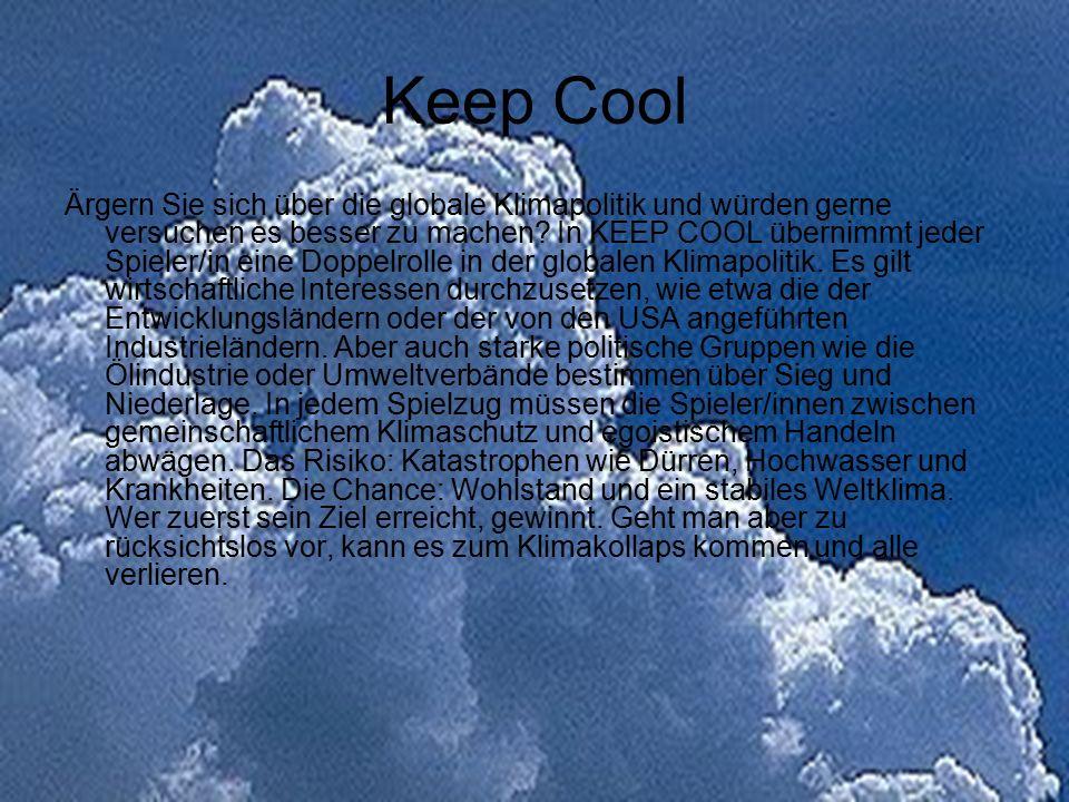 Keep Cool Ärgern Sie sich über die globale Klimapolitik und würden gerne versuchen es besser zu machen? In KEEP COOL übernimmt jeder Spieler/in eine D