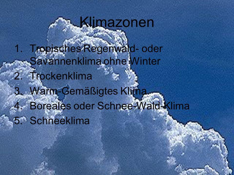 Klimazonen 1.Tropisches Regenwald- oder Savannenklima ohne Winter 2.Trockenklima 3.Warm-Gemäßigtes Klima 4.Boreales oder Schnee-Wald-Klima 5.Schneekli