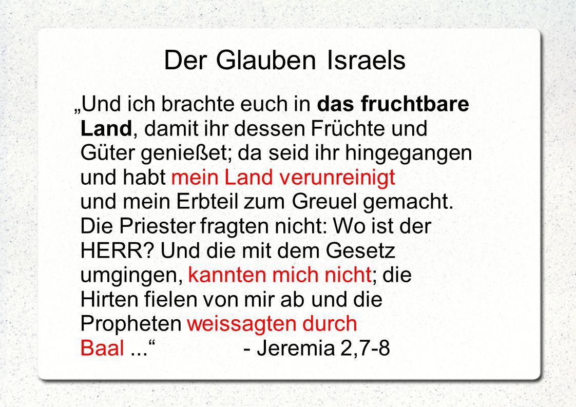 """Der Glauben Israels """"Und ich brachte euch in das fruchtbare Land, damit ihr dessen Früchte und Güter genießet; da seid ihr hingegangen und habt mein L"""