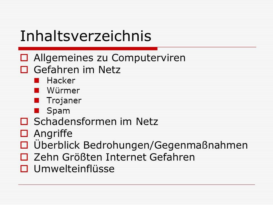 Inhaltsverzeichnis  Allgemeines zu Computerviren  Gefahren im Netz Hacker Würmer Trojaner Spam  Schadensformen im Netz  Angriffe  Überblick Bedro