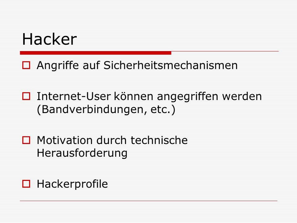 Hacker  Angriffe auf Sicherheitsmechanismen  Internet-User können angegriffen werden (Bandverbindungen, etc.)  Motivation durch technische Herausfo