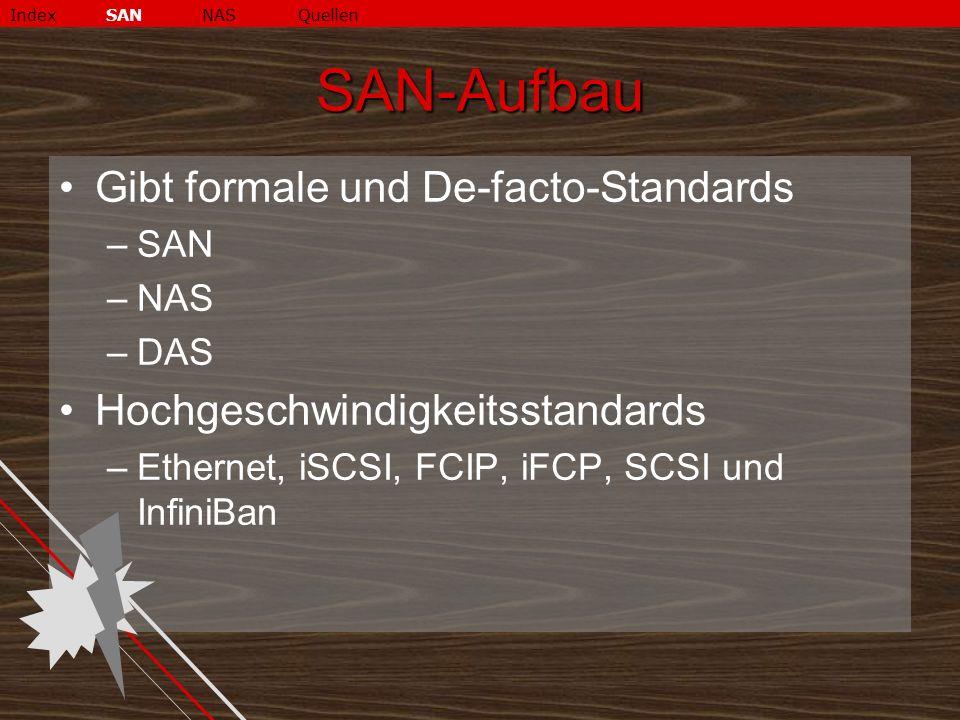 SAN-Aufbau Gibt formale und De-facto-Standards –SAN –NAS –DAS Hochgeschwindigkeitsstandards –Ethernet, iSCSI, FCIP, iFCP, SCSI und InfiniBan IndexSANNASQuellen