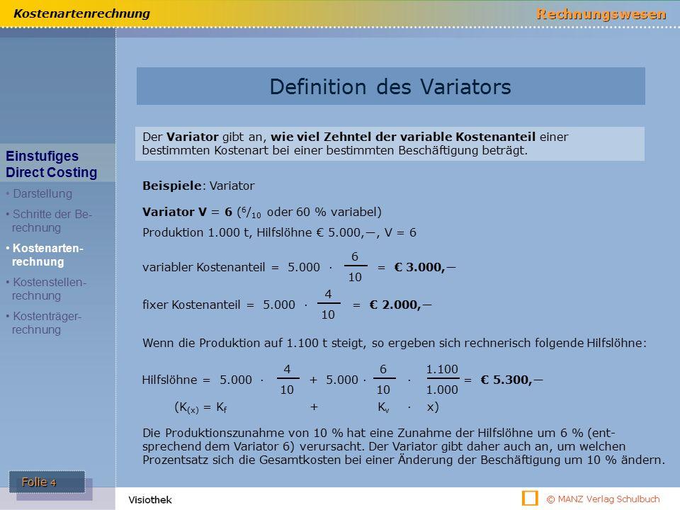 Folie 5 Kostenartenrechnung Definition des Variators V = 10 ( 10 / 10 oder 100 % variabel) Produktion 1.000 t, Fertigungsmaterial € 10.000,―, V = 10 Steigt die Produktion auf 1.100 t, so ergeben sich rechnerisch folgende Fertigungslöhne: Fertigungslöhne = 10.000 · = € 11.000,― 1.100 1.000 variabler Kostenanteil = € 10.000,― = 10.000 · 6 10 fixer Kostenanteil = € 0,― V = 0 ( 0 / 10 oder 0 % variabel) Variabler Kostenanteil = 0 (Null).