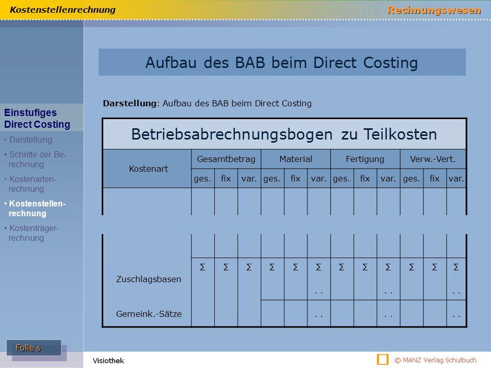 Folie 6 Kostenstellenrechnung Aufbau des BAB beim Direct Costing Darstellung: Aufbau des BAB beim Direct Costing Betriebsabrechnungsbogen zu Teilkosten Kostenart GesamtbetragMaterialFertigungVerw.-Vert.