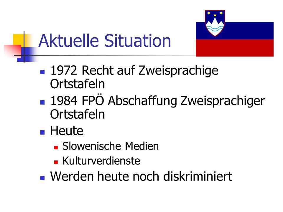Aktuelle Situation 1972 Recht auf Zweisprachige Ortstafeln 1984 FPÖ Abschaffung Zweisprachiger Ortstafeln Heute Slowenische Medien Kulturverdienste Werden heute noch diskriminiert