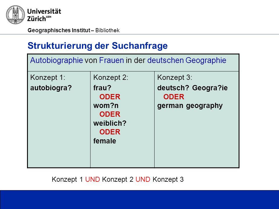 Geographisches Institut – Bibliothek Seite 27 Strukturierung der Suchanfrage Autobiographie von Frauen in der deutschen Geographie Konzept 1: autobiogra.